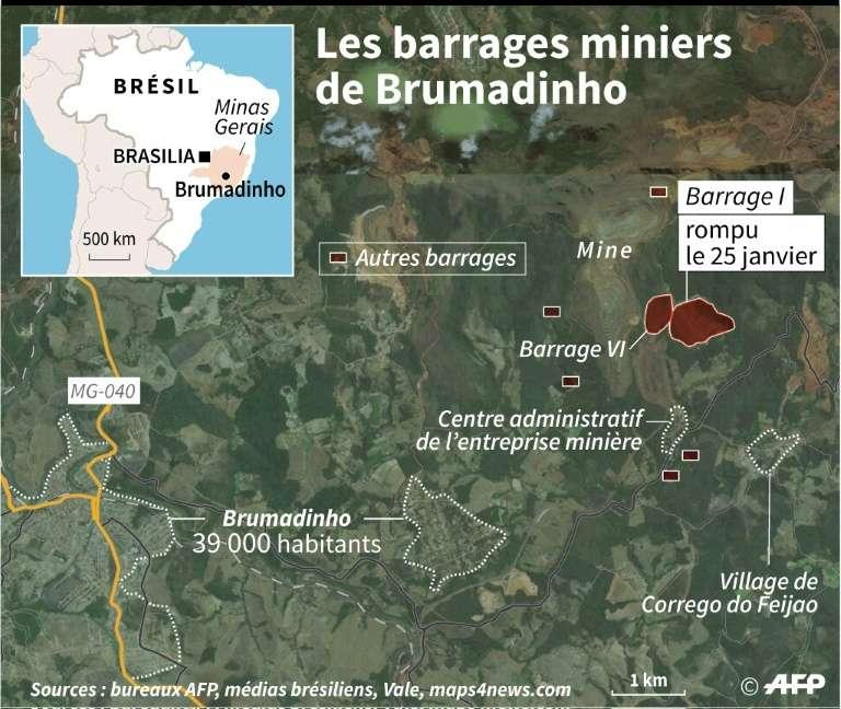 Les barrages miniers de Brumadinho. Une alerte a été déclenchée le 27 janvier, puis retirée, par crainte d'une autre rupture sur le barrage VI. © Thomas Saint-Cricq - AFP