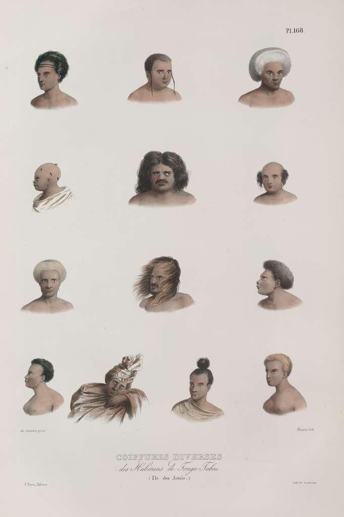 """Illustration """"Coiffures diverses des habitants de Tonga Tabou, île des Amis"""" dans Voyage de la corvette l'Astrolabe exécuté par ordre du Roi, pendant les années 1826-1827-1828-182..., planche 168, 1830. © The New York Public Library Digital Collections."""