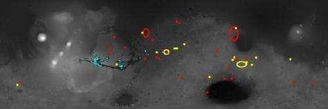 Cartographie de la distribution des matériaux hydratés à la surface de Mars, délivrée par le spectromètre OMEGA Les points rouges indiquent la présence de phyllosilicates Les points bleus indiquent la présence de sulfates Les points jaunes indiquent la présence d'autres minéraux hydratés (Crédits : IAS/OMEGA/ESA)