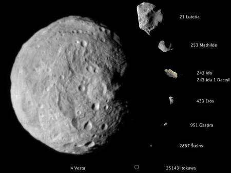 Un florilège d'astéroïdes. Les différents corps célestes sont ici à l'échelle avec un diamètre de 525 km pour Vesta. © Nasa