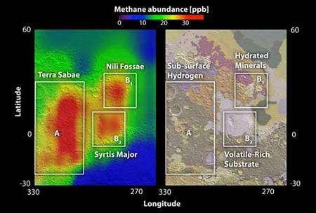 A gauche une carte des suintements de méthane et de la répartition des émissions. La concentration de méthane atmosphérique est de plus en plus importante en passant du violet au rouge. Il s'agit de parties par milliard. A droite ces même zones sur une carte géologique montrant les minéraux détectés. Crédit : Nasa