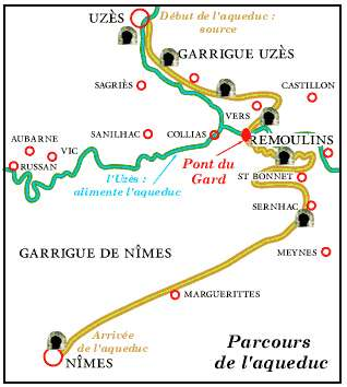 Le parcours de l'aqueduc de Nîmes.