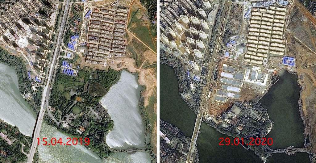 Une vue « Avant - Après » du site sur lequel est construit à Wuhan un hôpital de plus de 1.000 lits pour les patients atteints du Coronavirus. © Cnes 2020, Distribution Airbus DS