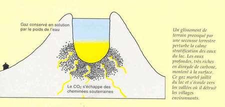 Figure 2 (cliquez sur l'image pour l'agrandir). Hypothèse de l'accumulation de gaz carbonique (CO2, en jaune), sous le lac Nyos. © ereiter.free.fr