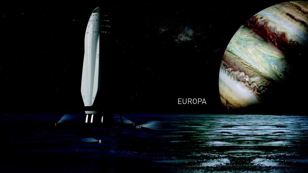 Il n'y a pas que Mars. Elon Musk pense aussi à des voyages vers d'autres planètes du Système solaire et leurs lunes, comme ici Europe, dans la banlieue de Jupiter. © SpaceX