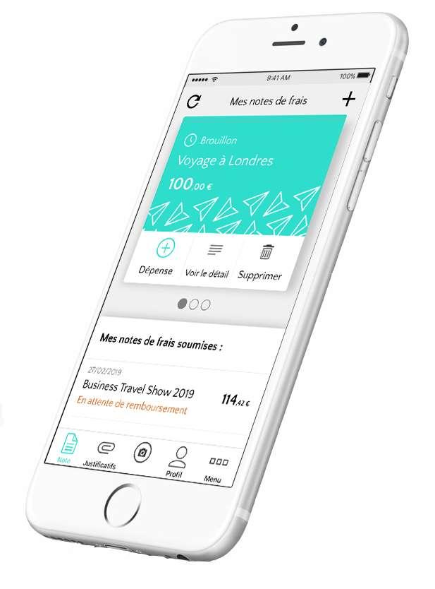 Vous pouvez compléter vos notes de frais sur l'application mobile Traveldoo Expense. © Traveldoo