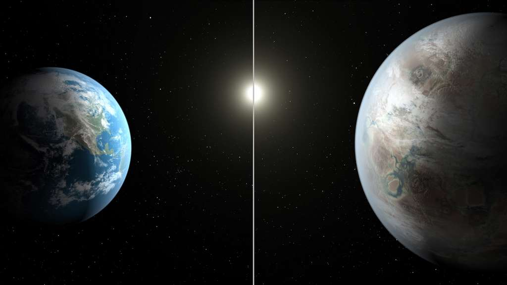 Découverte en 2015, Kepler-452b (illustrée à droite) est à ce jour l'exoplanète connue la plus ressemblante à la Terre (en comparaison, à gauche). Située à environ 1.400 années-lumière de nous, elle a 1,7 milliard d'années de plus que notre oasis bleue. © Nasa, JPL-Caltech, Ames