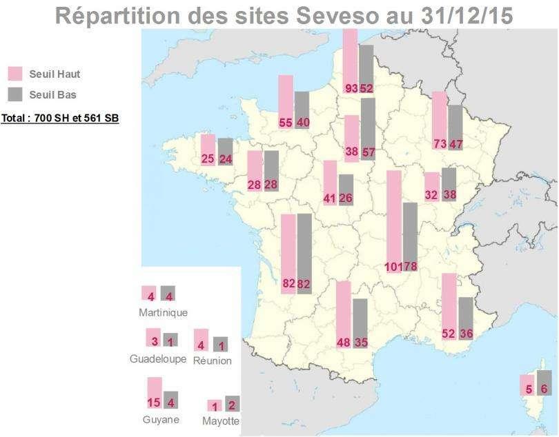 En France, les sites classés Seveso se répartissent de manière inégale. © Ministère de la Transition écologique et solidaire