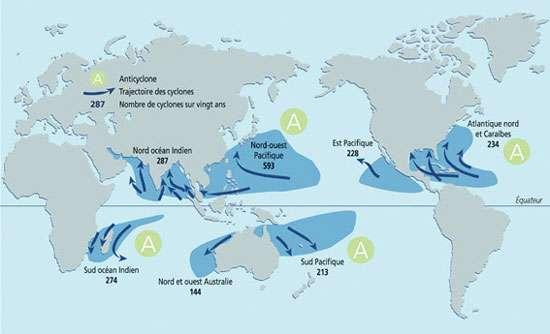 Nombre de cyclones et leurs trajectoires. © Prim.net