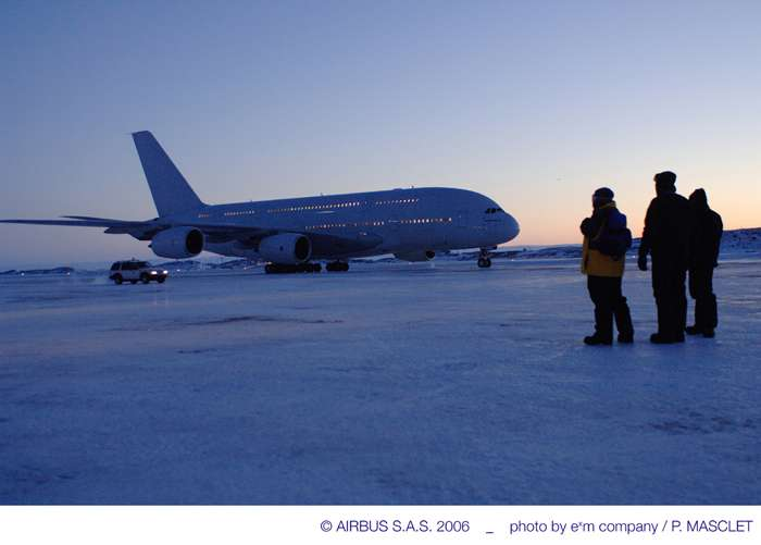 A380 : tests par grand froid
