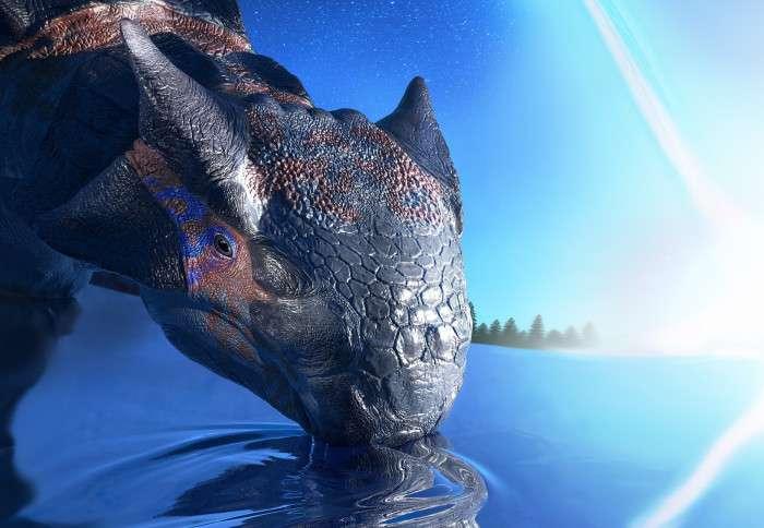 Une vue d'artiste d'un Ankylosaurus magniventris. Le dinosaure est sur le point de mourir en subissant l'impact de l'astéroïde que l'on voit en arrière-plan. © Fabio Manucci