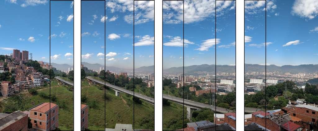 Nos quatre clichés réalisés à l'aide d'un smartphone. Les traits noirs symbolisent les zones de recoupement. © Image Composite Editor