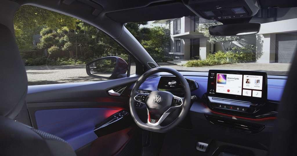 El interior del Volkswagen ID.4 GTX tiene derecho a algunos elementos estéticos específicos.  © Volkswagen