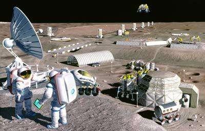 Concept de base lunaire utilisant des modules autonomes mais surtout des structures constuites à l'aide de matériaux lunaires