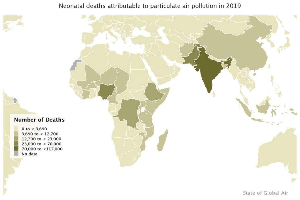 Nombre total de décès parmi les nouveau-nés attribuables à la pollution de l'air en 2019. © HEI State of Global Air