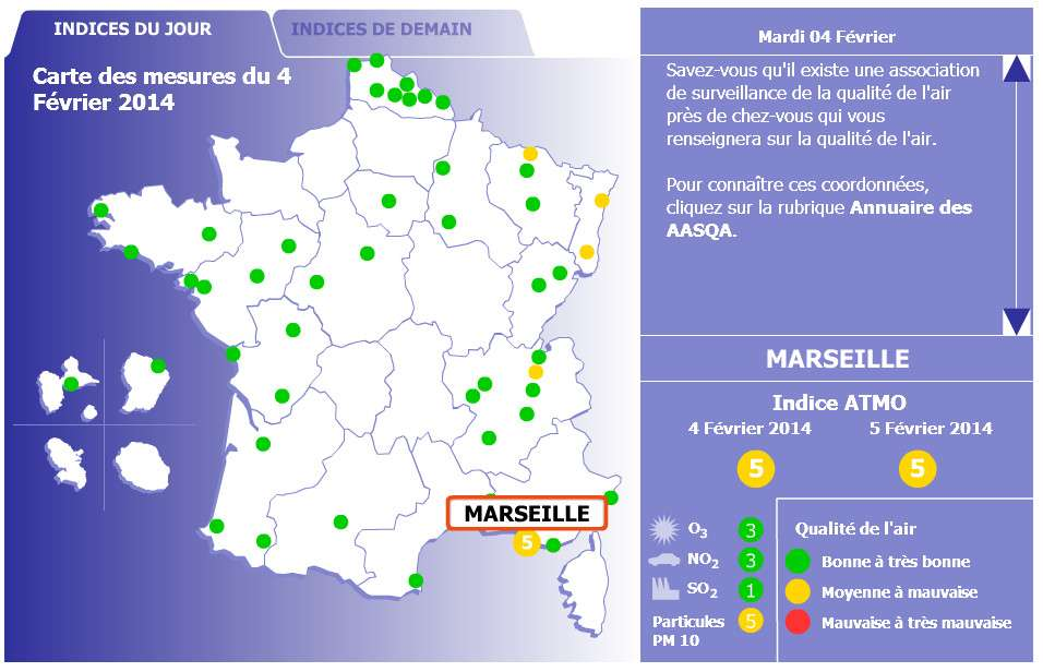 Sur le site d'Atmo France, vous pouvez consulter la carte du jour actuel. En déplaçant le curseur sur les villes, on obtient, comme pour Marseille à l'image, l'indice Atmo général et pour chaque polluant. © Capture d'écran, www.atmo-france.org