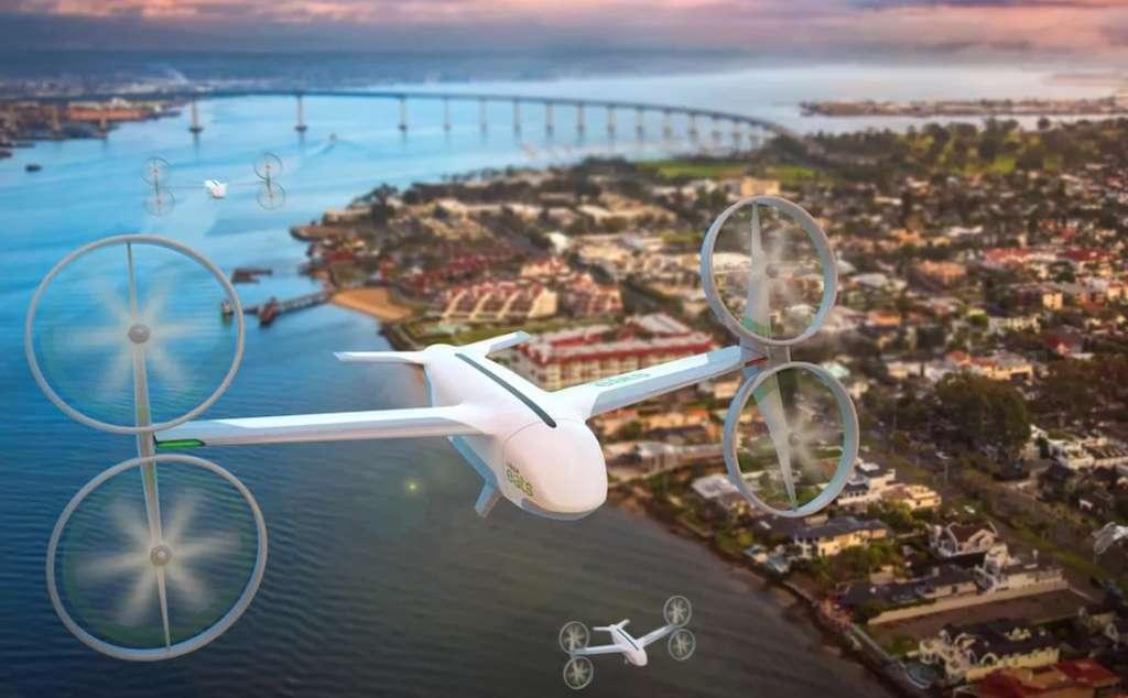 Pour acheminer les repas, Uber Eats compte exploiter des « skyports », des plateformes de décollage et atterrissage disposées sur les toits des immeubles en ville. Ces espaces pourraient alors accueillir à la fois les drones et les taxis volants, comme le concept eCRM-003 de la société. © Uber