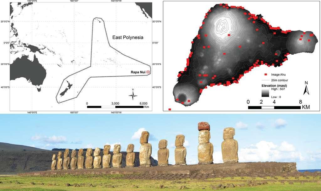 En haut, à gauche, est indiquée la position de l'île de Pâques, ou Rapa Nui, en Polynésie. À droite, les points rouges correspondent aux ahu. Seuls, 93 d'entre eux ont été inclus dans cette étude. En bas, Ahu Tongariki, le plus grand ahu de l'île, surmonté de 15 statues. © Robert DiNapoli et al., Plos One, 2019