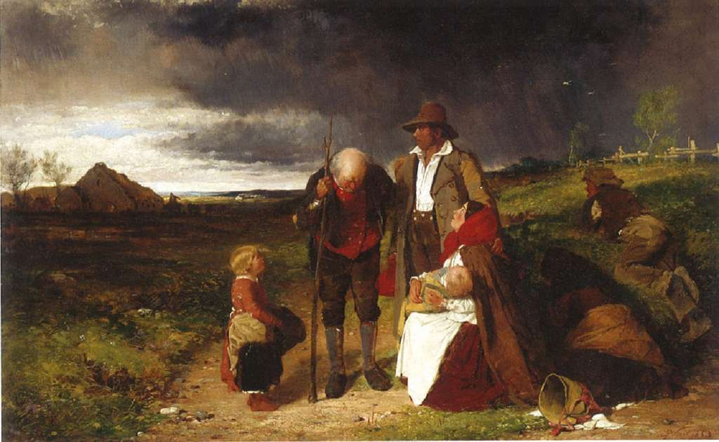 "Tableau ""Une famille irlandaise expulsée"" par Erskine Nicol en 1853. National Gallery of Ireland. © blogspot.com."
