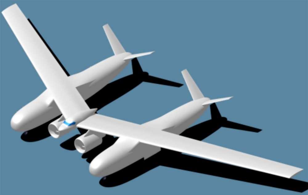 Deux fuselages transporteront deux fois plus de passagers qu'un seul : c'est l'idée de Northrop Grumman. © Nasa/Northrop Grumman