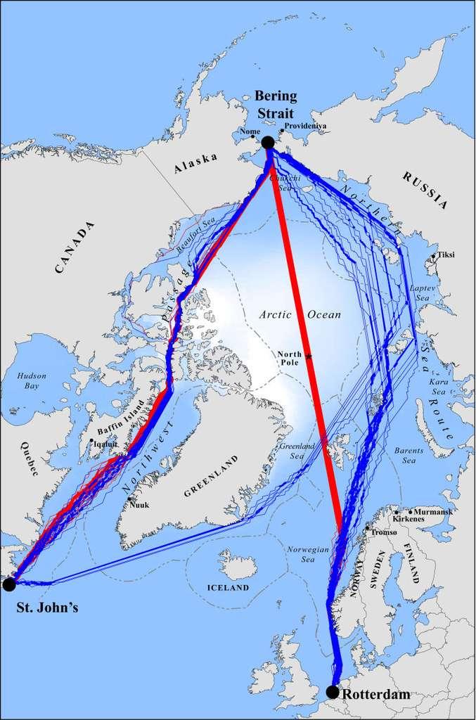 Projection des routes maritimes simulées pour les années 2040 à 2059. Les tracés rouges sont les projections des trajets les plus courts que pourront emprunter les brise-glaces les plus communs, du type Polar Class 6. Les tracés bleus indiquent les trajets qui seront les plus rapides pour les bateaux non équipés pour affronter la glace. © Laurence Smith et Scott Stephenson, Pnas, 2013