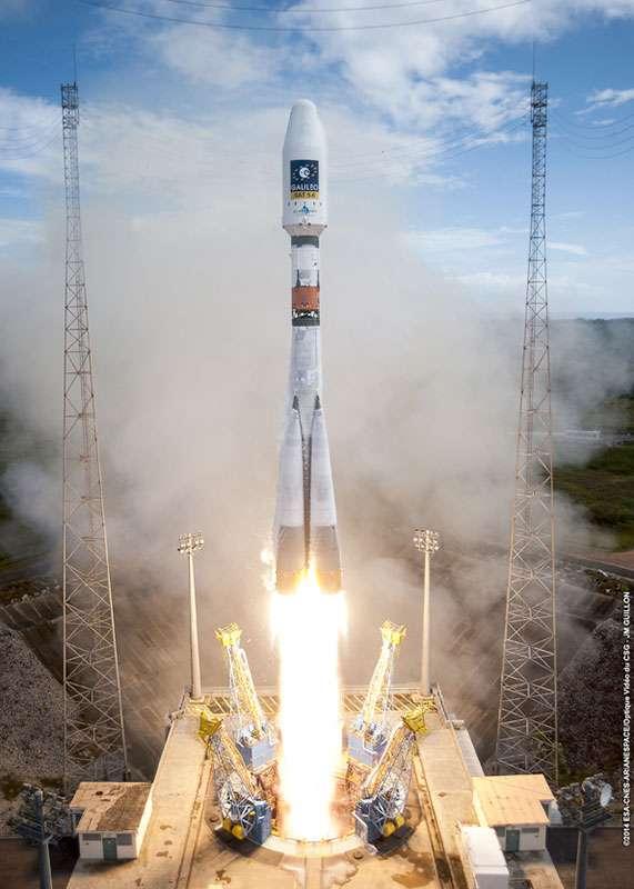 22 août 2014 à 9 h 27 (heure locale) depuis le Centre spatial guyanais (CSG) : décollage du lanceur russe Soyouz depuis son pas de tir situé à Sinnamary, à une quinzaine de kilomètres des installations au sol d'Ariane 5. © Esa, Cnes, Arianespace, Service optique CSG