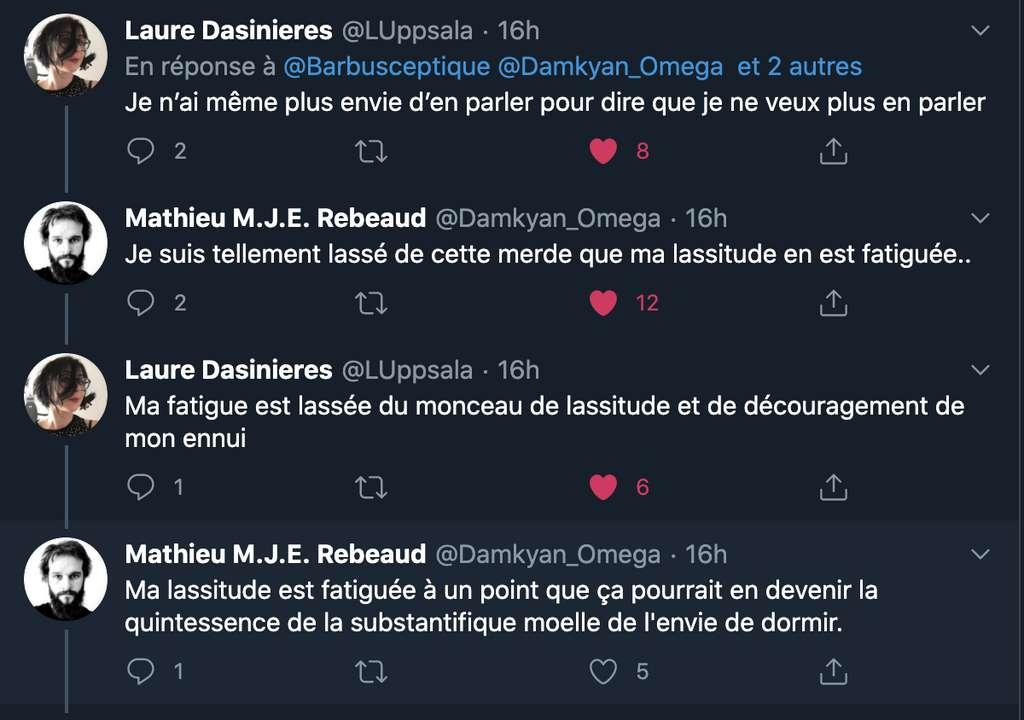 Laure Dasinieres, journaliste indépendante et Mathieu Rebeaud, doctorant en biochimie des protéines, s'adonnant à un concours de « punchlines » sur Twitter, pour témoigner de leur lassitude.