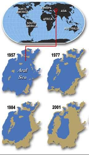 Évolution de la mer d'Aral. © DR