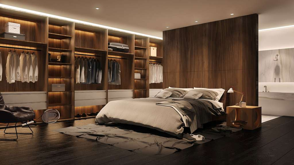 Une chambre aux tons masculins