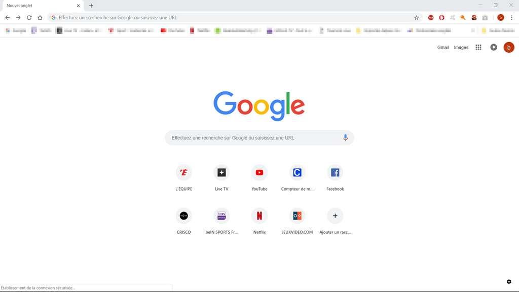 La page Nouvel onglet est celle qui s'ouvre par défaut si vous n'avez pas paramétré votre page de démarrage. © Google