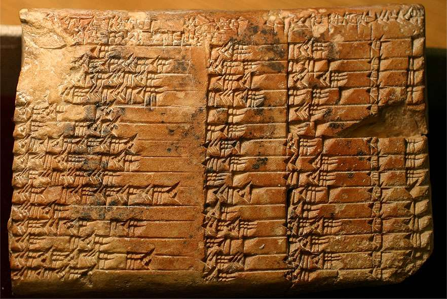 La tablette d'argile babylonienne nommée « Plimpton 322 » (car elle porte le numéro 322 dans la collection « G. A. Plimpton », a été découverte au XIXe siècle. © Domaine public