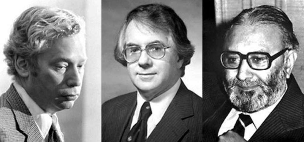 De gauche à droite, les prix Nobel de physique 1979 : Steven Weinberg, Sheldon Glashow, Abdus Salam. Le modèle unifié des forces nucléaire faible et électromagnétique qu'ils ont proposé en 1967 ne s'est imposé qu'à la fin des années 1970, après la renaissance de la théorie quantique des champs. © The Nobel Foundation