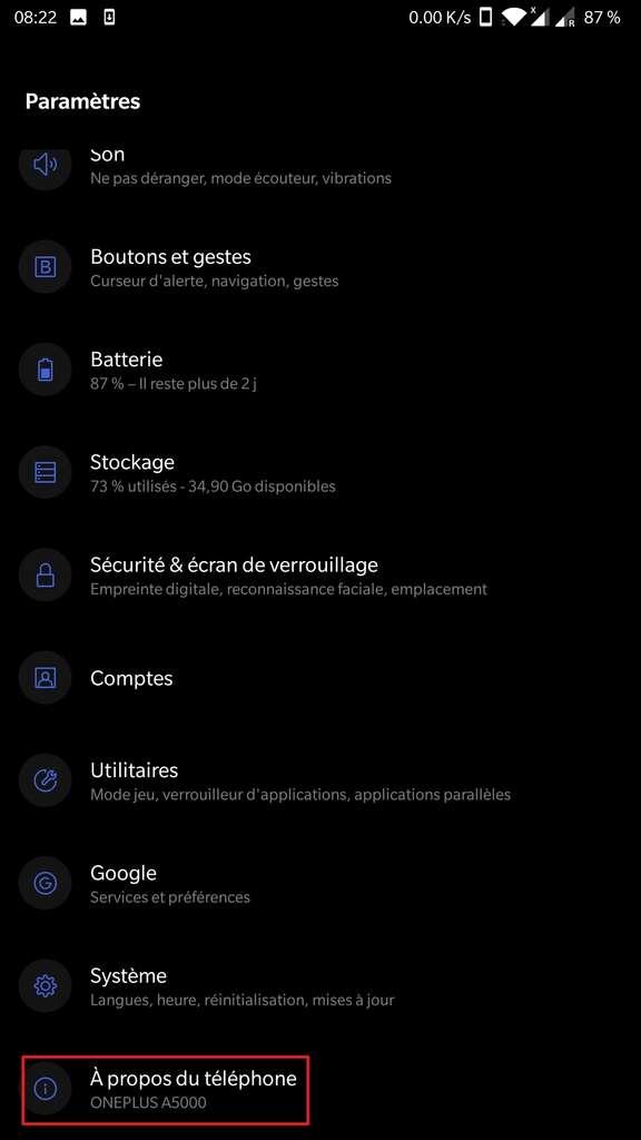 Menu «Paramètres». © Android