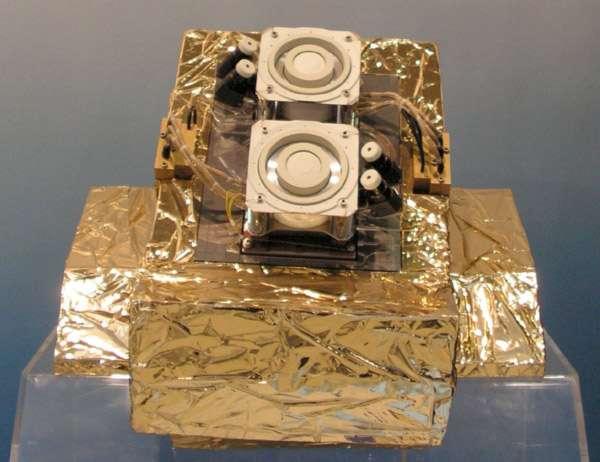 Le moteur électrique de la sonde lunaire Smart-1 de l'Agence spatiale européenne. Construit par Snecma, il peut être également utilisé pour le contrôle d'orbite des satellites de télécommunications. © Rémy Decourt, Futura-Sciences, Flashespace