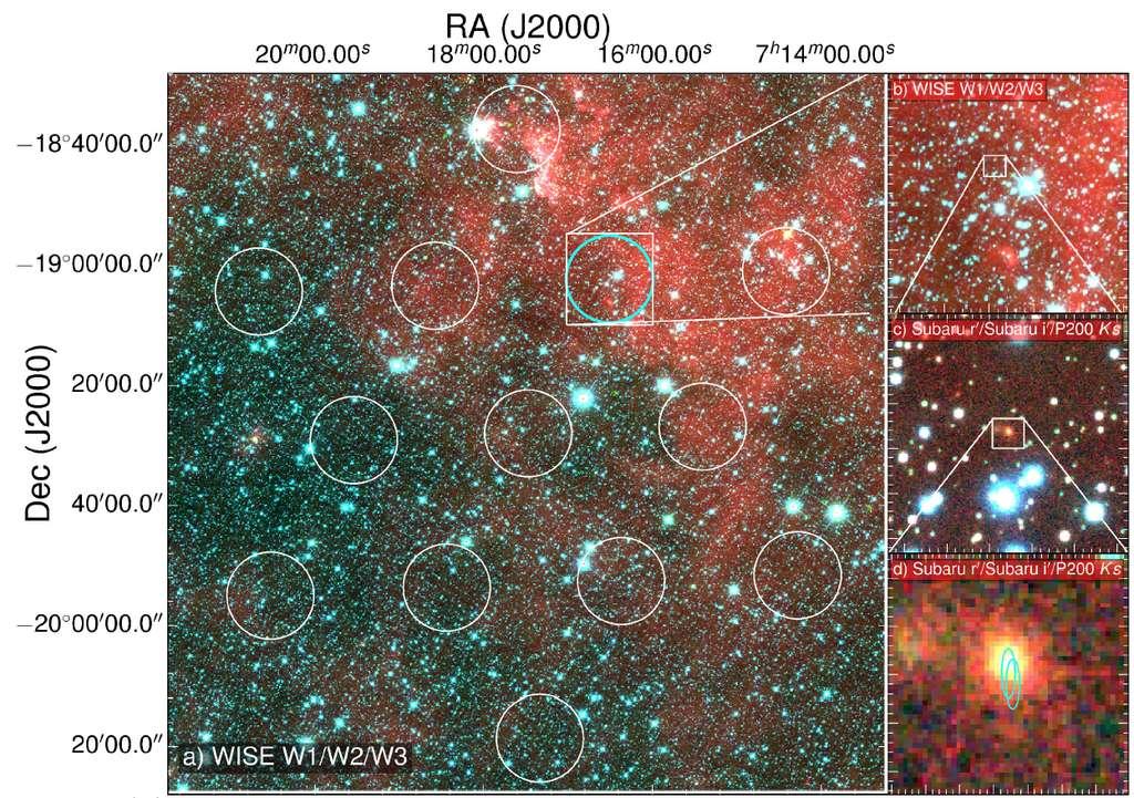 Cette image montre le champ d'observation du radiotélescope de Parkes à gauche. Viennent ensuite à droite une série de zoom montrant la localisation du FRB observée dans le visible par le télescope Subaru et finalement le localisation sous forme d'ellipse du rayonnement radio ayant succédé pendant 6 jours au FRB observé par l'ATCA.