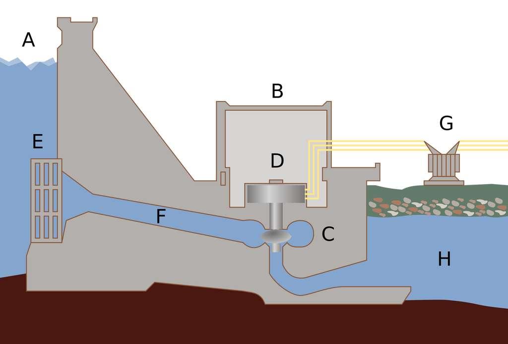 Schéma en coupe d'un barrage hydroélectrique. A : réservoir, B : centrale électrique, C : turbine, D : générateur, E : vanne, F : conduite forcée, G : lignes haute tension, H : rivière. © Tomia, CC by 2.5