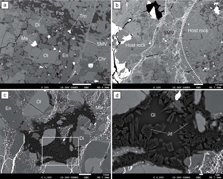 La météorite de Tcheliabinsk observée au microscope électronique. Dans le cadre a, on distingue la structure générale typique de cette chondrite. En b, l'image révèle les veines de fusion (SMV) caractéristiques d'un événement violent. L'agrandissement c détaille les parties riches en jadéite. À plus grande échelle, l'image d montre la distribution de la jadéite et de verre feldspathique. En : enstatite ; Di : diopside, Fsp = feldspath albitique ; Me : métal (nickel-fer) ; Tro : troïlite , Chr : chromite ; SMV : veine de fusion ; Mtx : matrice de veine de fusion ; Jd : jadéite ; Gl : verre feldspathique. © Shin Ozawa, Masaaki Miyahara, Eiji Ohtani, Olga N. Koroleva, Yoshinori Ito, Konstantin D. Litasov et Nikolay P. Pokhilenko