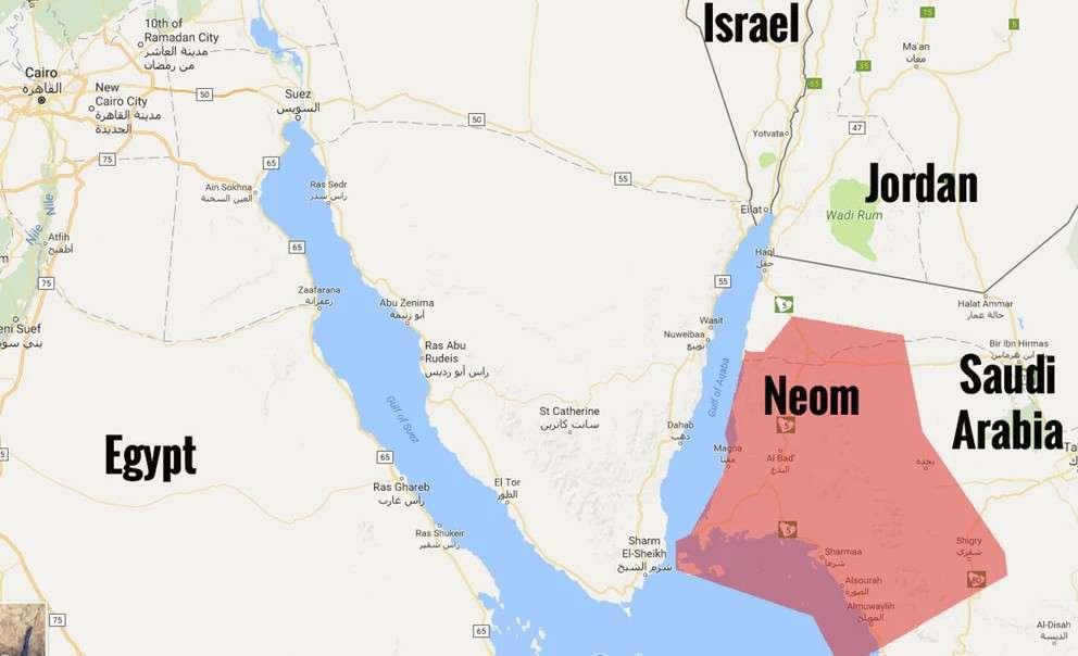 La zone en rouge montre le projet initial pour la mégapole Neom implantée en Arabie saoudite. Mais à terme, il est prévu qu'elle s'étende aux rives de l'Égypte et de la Jordanie dans le golfe d'Aqaba.© Google Maps