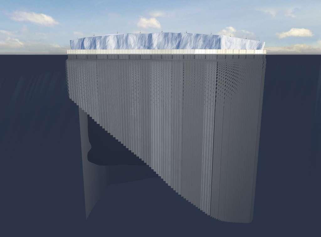 Les lames de tissus pliées dans les boîtes portées par la jupe sont en train de se déployer, formant un rideau limitant les échanges thermiques entre la glace et l'eau et réduisant ainsi la vitesse de fonte. © Dassault Systèmes