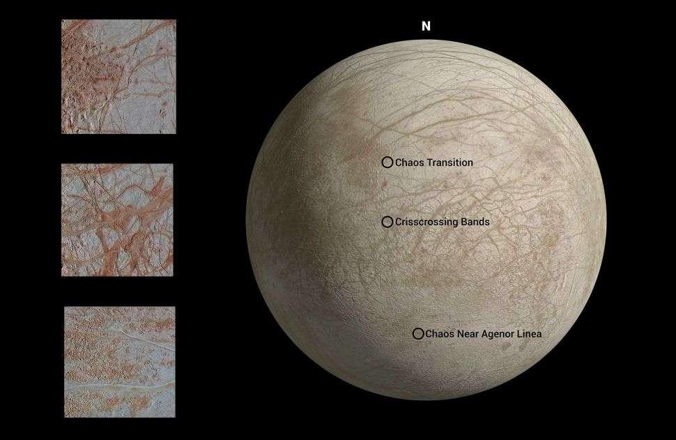 Trois régions d'Europe, revisitées par les chercheurs du JPL, le Jet Propulsion Laboratory de la Nasa. © Nasa, JPL-Caltech