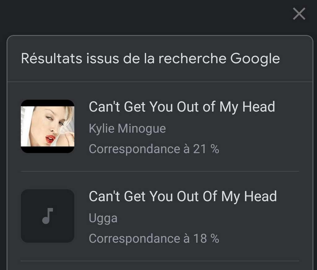 L'application affiche une liste de chansons avec un taux de correspondance. © Futura