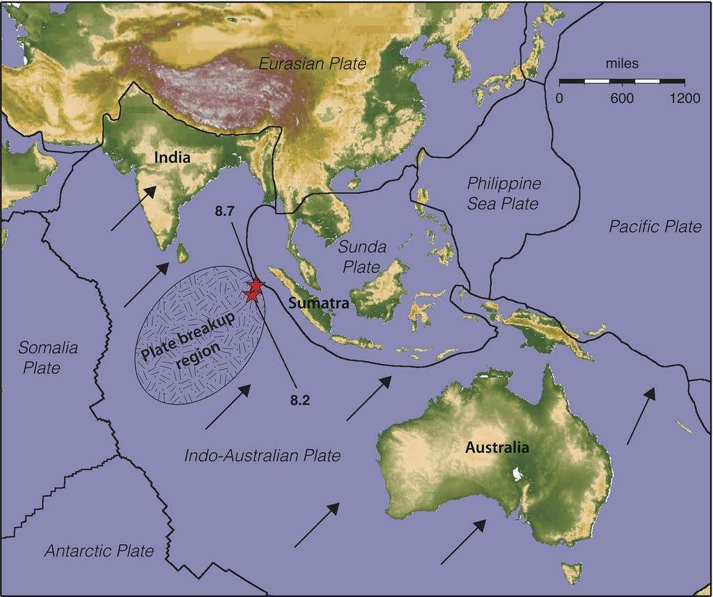 Les flèches noires indiquent le sens du déplacement des différentes parties de la plaque indo-australienne (Indo-Australian Plate). Elles ne sont pas toutes parallèles. Les tensions engendrées causeraient une rupture de la plaque dans la région encerclée (Plate breackup region). Les deux séismes du 11 avril 2012 ont d'ailleurs eu lieu (étoiles rouges) dans cette zone. © Keith Koper, University of Utah