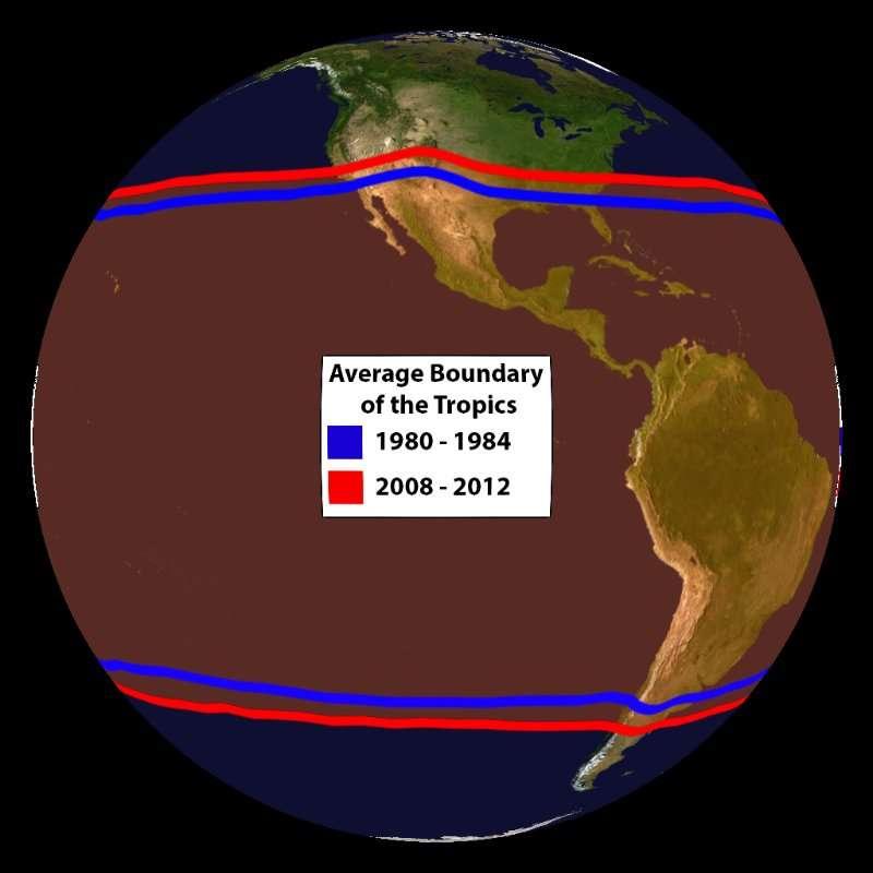 Évolution de la région des tropiques entre 1980-1984 (en bleu) et 2008-2012 (en rouge) © NOAA