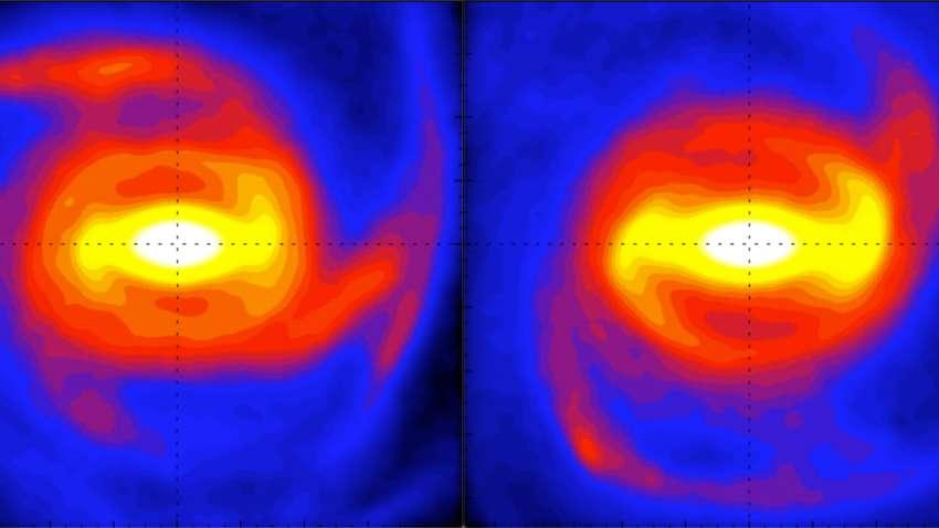 L'image de gauche illustre la vraie nature de la barre tandis que celle de droite la montre connectée aux bras spiraux, apparaissant ainsi plus longue et plus lente © T. Hilmi, University of Surrey