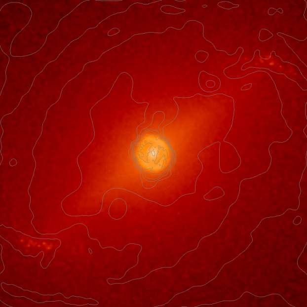 Un instant d'une simulation montrant les deux barres. Les contours en gris représentent le gaz qui s'accumule dans un anneau circumnucléaire et le long de la barre nucléaire. © Hervé Wozniak (université de Strasbourg, CNRS)