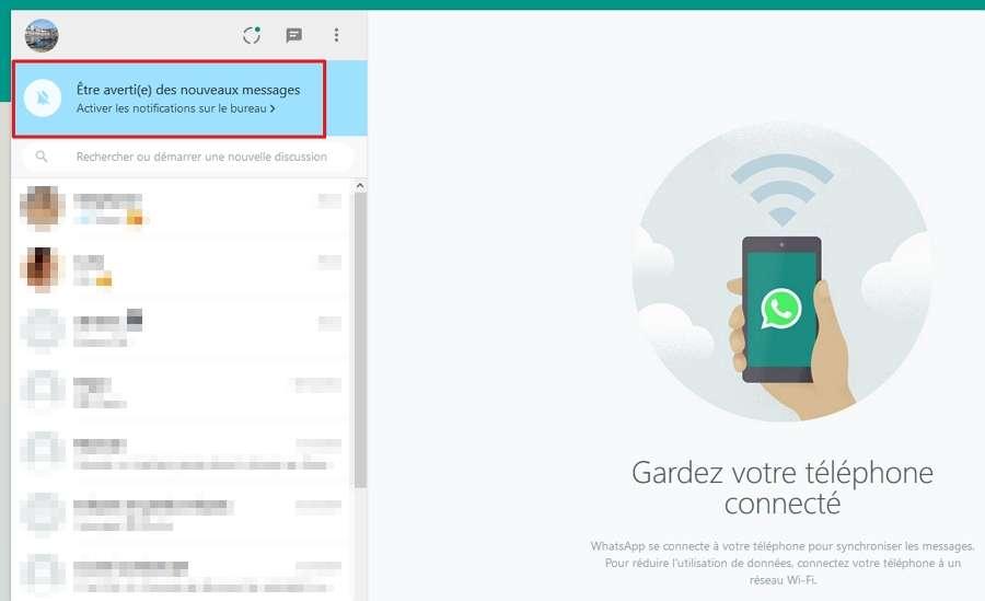 Cliquez sur la zone bleue pour activer les notifications sur le bureau. © Facebook