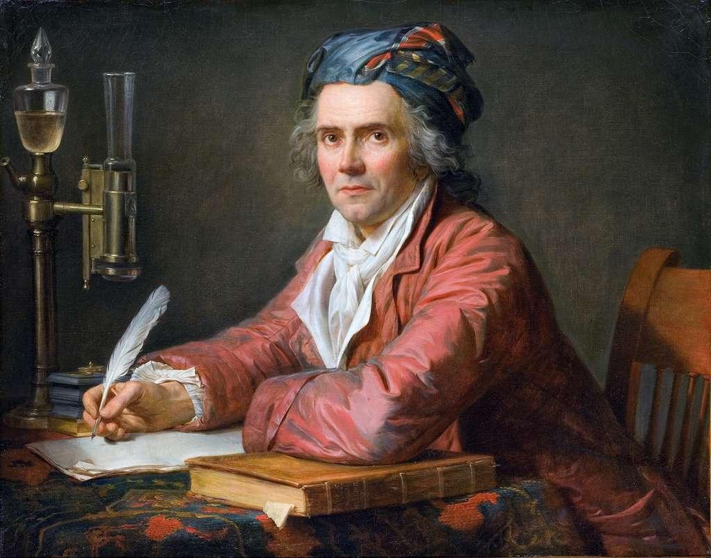 Portrait du docteur Alphonse Leroy (médecin accoucheur, dans son cabinet de travail, accoudé sur un ouvrage d'Hippocrate), par Jacques-Louis David en 1783. Musée Fabre, Montpellier. © Wikimedia Commons, domaine public