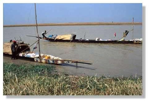 Commerçants ambulants sur le Diaka, ils vont de campements de pêche en campements de pêche, à bord de leur pirogue. Delta central, 14° nord, 4° ouest. Mali. © IRD/Yveline Poncet.