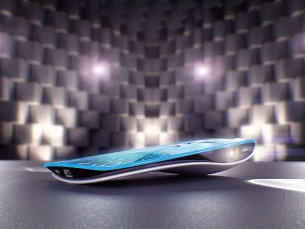 Le Seabird, un concept du designer Billy May, réalisé en 2010 à la demande de Mozilla qui réfléchissait déjà sur le téléphone du futur. Le logiciel système imaginé était open source. On remarquait aussi une télécommande miniature et deux picoprojecteurs. © Mozilla Labs