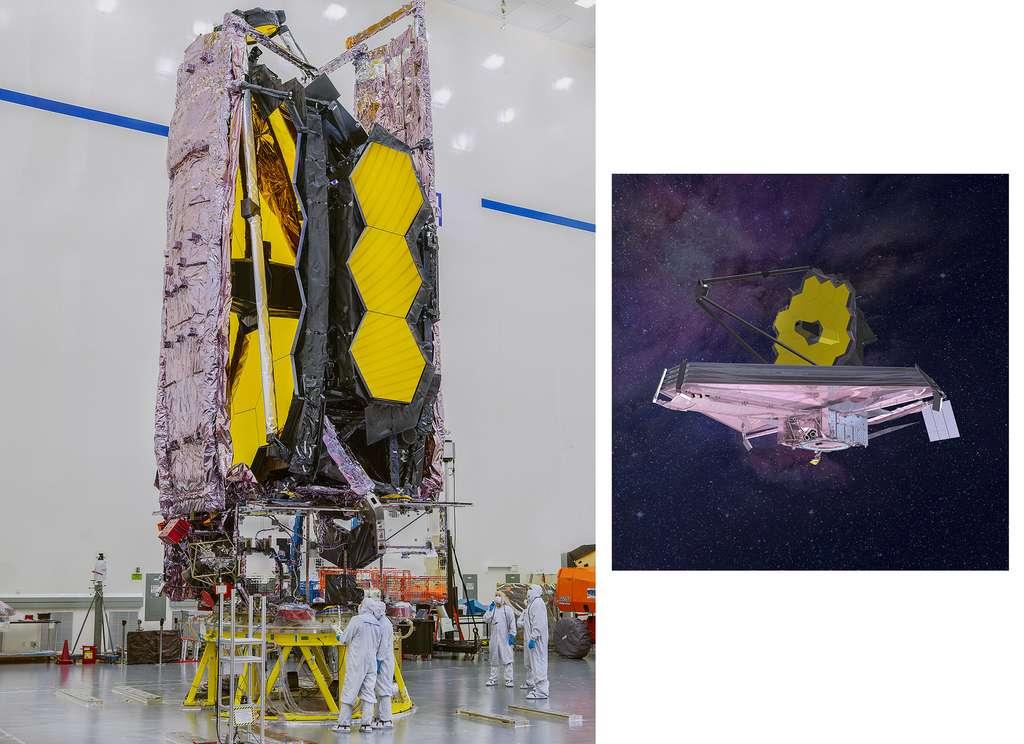 L'observatoire James-Webb plié en forme de rectangle pour tenir dans la coiffe d'Ariane 5 et une vue d'artiste pour montrer sa forme : lorsqu'il sera déplié en orbite. © Nasa, Chris Gunn